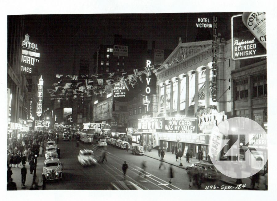 Broadway Street Night, New York - 1941